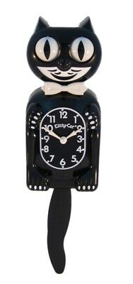 """Black KITTY CAT CLOCK 12.75"""" Mini Free Battery LIMITED EDITION MADE IN USA"""