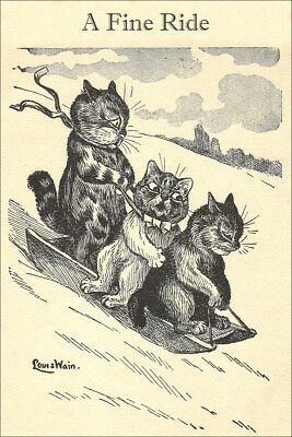 ANTIQUE Cat Drawing A FINE RIDE by Louis Wain 1909 - LARGE New Blank Note Cards