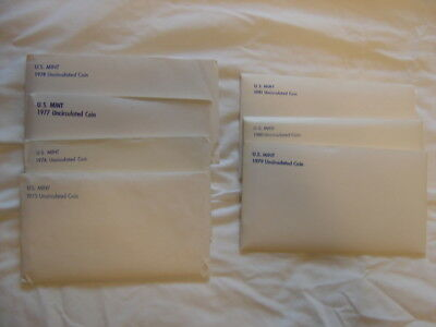 US Mint Uncirculated Coin Set , Lot of seven, 1975 to 1981, in envelopes