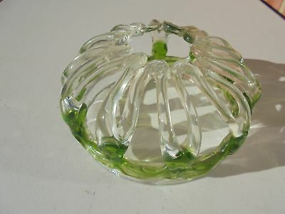 Unusual Old Antique Blown Glass Bride's Bank Flower Frog Green Clear