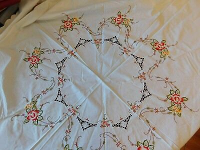 Vintage Round Crisp White with Floral Embroidery and Cut Work Tablecloth