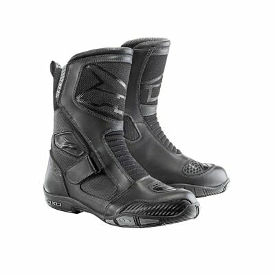 Axo Airflow Leather Motorcycle Boots 45 Black (UK 10.5) Touring Bike Breathable