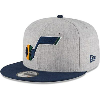 7a773272433 New Era Utah Jazz Heathered Gray Navy Two-Tone 9FIFTY Snapback Adjustable  Hat