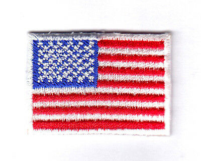 """AMERICAN FLAG w/WHITE BORDER, SMALL(1 1/2"""" x 1 1/8"""") USA Patriotic Iron On Patch"""