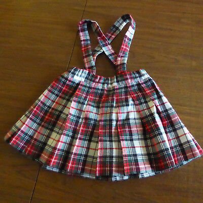 Vintage Girls Red Green Plaid Vintage Wool Pleated Skirt, handmade, size 3-4