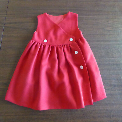 Vintage Girls Classic Red Jumper Wrap Dress handmade, size 3-4