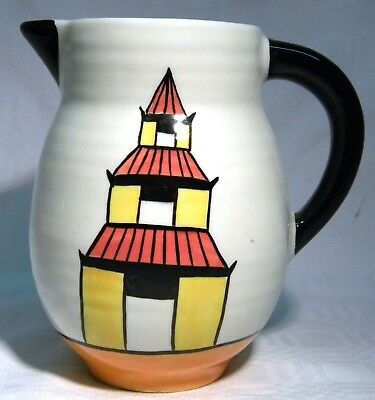 Old Ellgreave Pottery  Clarice Cliff Style Lorna Bailey  Pagoda Garden  Jug