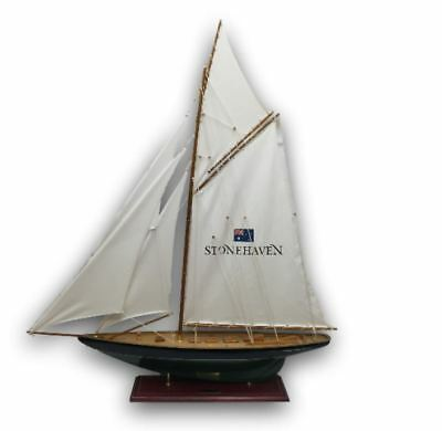 """Sailboat Ship w/ Sails Susanne Bell Winemaker Stonehaven 49"""" Tall Wood Model"""