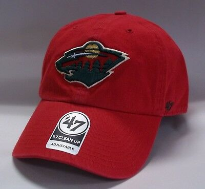 sports shoes 6f235 d61be Minnesota Wild 47 Brand Clean Up Hat Adjustable Cap Red