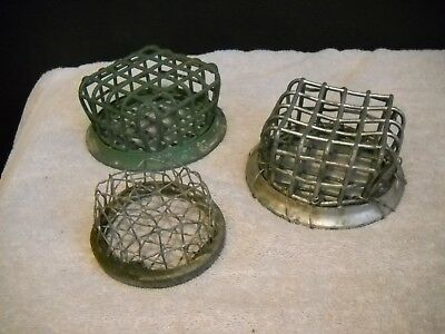 3 Vintage Metal Flower Frogs - Cage Style