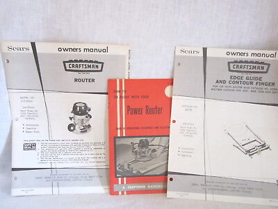 Sears Craftsman Router& Edge Guide Owners Manual + Power Router Booklet