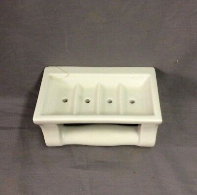 Vtg Ceramic White Porcelain Soap Dish Grab Bar Wall Mount Old Fixture 21-19D