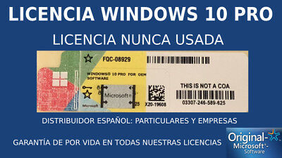x5 KEYS Windows 10 Pro COA PEGATINA STICKER LICENSE LICENCIA 32/64 Bit