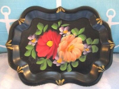 Vintage Hand Painted Red & Apricot Spring Roses Dresser Jewelry Tole Tray