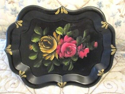 Vintage Hand Painted Red & Yellow Roses Dresser Perfume Jewelry Vanity Tole Tray