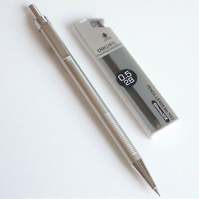 DELI #713 Lightweight 2B Mechanical Pencil Silver Steel Effect 0.5mm + 20x Leads