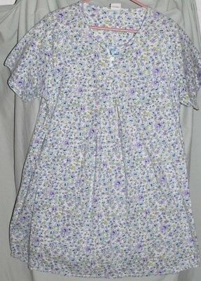 Take Nine Women's Maternity Nursing Nightgown Floral Cut Outs Large Light Blue