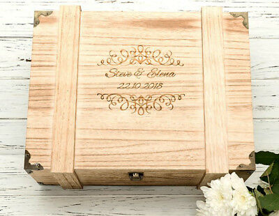 Personalised Engraved Wedding Wooden Keepsake Memory Chest Memory Box NEW