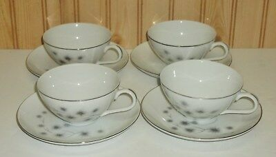 Atomic Age Platinum Star Burst by Creative China Japan Teacup & Saucers 4 Sets