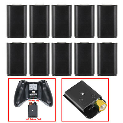 10pcs Battery Back Cover Case Shell Pack for Xbox 360 Wireless Controller Balck