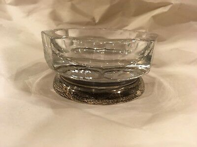 Vintage Heavy Crystal Facet Base Sterling Silver Individual Ashtray Dish