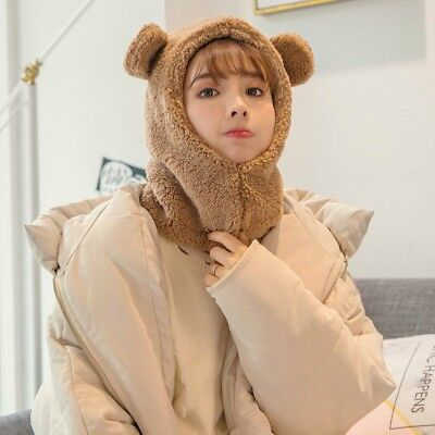 Lady Hat Cap Fleece Furry Fluffy Warm Winter Bear Ears Animal Hoodie Kawaii Cute