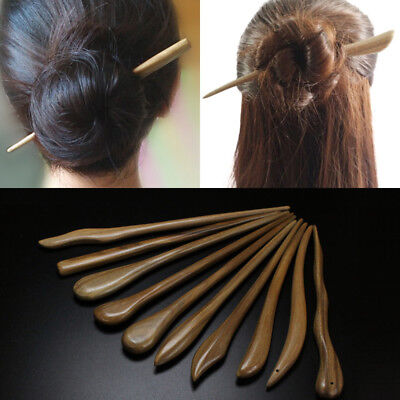 Women Carved Wooden Hair Chopstick Stick Pin Handmade Chinese Japanese Wood