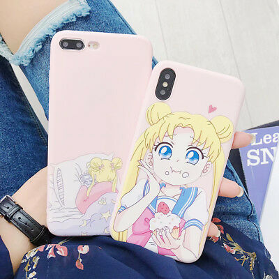 Sailor Moon Eats Cake Pink TPU Phone Case Cover Back For iPhone X XR 6 7 8 Plus