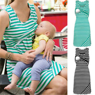 Women Blouse Pregnant Maternity Clothes Striped Shirt Breastfeeding Nursing Top