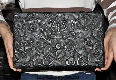 "14""Chinese Palace Black rosewood Wood Carved Dragon Totem Book Boxes storage box"