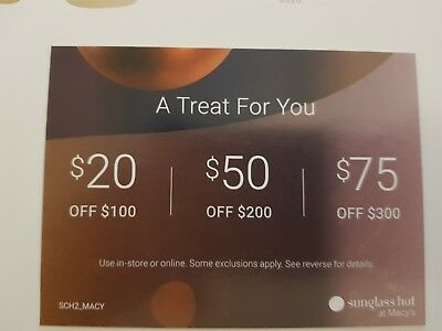 sunglass hut coupon 75 off 300 or 50 off 200 or 20 off 100 exp