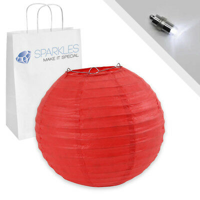 """10 pcs 10"""" inch Chinese Paper Lantern - Red - w/ LED Lights - Wedding Party os"""