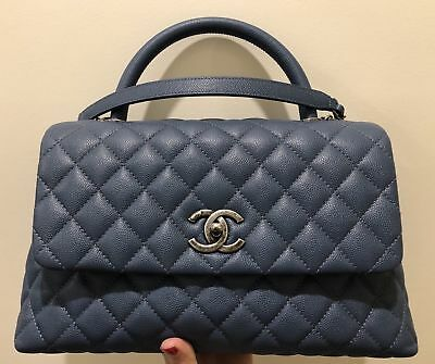 0c1ecbb1f04d4a Auth🎁CHANEL CoCo Handle Small🎁BLUE Caviar Leather Ruthenium Hardware,  Like NEW