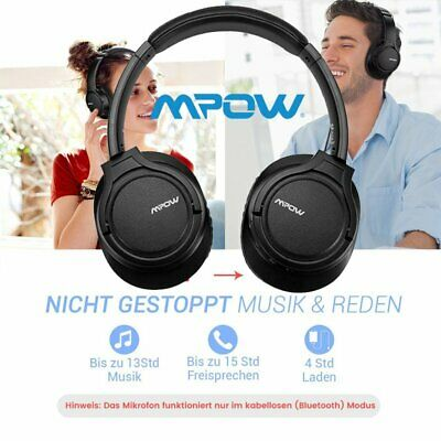 Mpow Bluetooth Kopfhörer Over-Ear Headset 3,5mm AUX für Handy/Tablets /PC/TV 15h