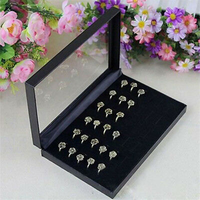 UK Velvet Jewelry Ring Display Organizer Case Tray Holder Earring Storage Box