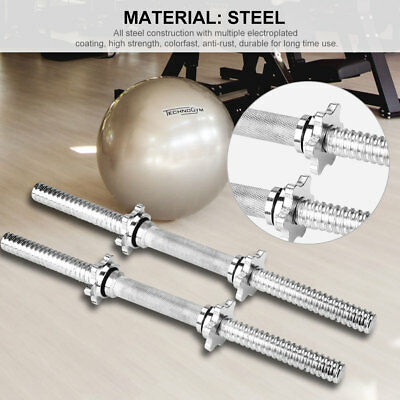 One Pair 45cm Solid Steel Dumbbell Bar Pair Gym Home Exercise Fitness 150KG Cap