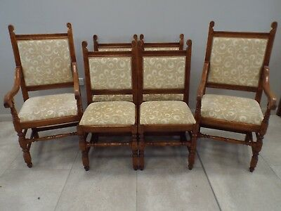 Quality Set of Six (4+2) Solid Oak Dining Chairs