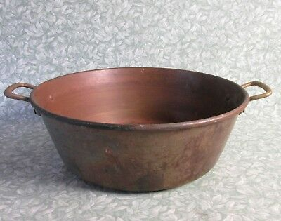 "Vintage French 15"" COPPER JAM PAN 1.7 kg Cook Pot Planter Bowl Brass Handles"