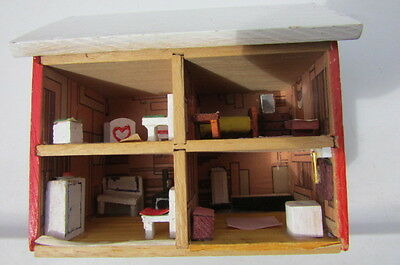 Dollhouse Furnished Room House Red Brick Handcrafted Wood Diorama