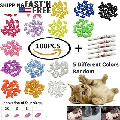 100 PCS Soft Pet Cat Nail Caps Cats Paws Grooming Nail Claws Caps Covers of 5 Ki