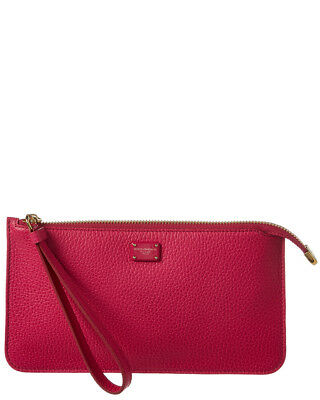 AUTHENTIC DOLCE   GABBANA Wallet Pink Leather Dauphine Clutch ... b42ebe6381f47