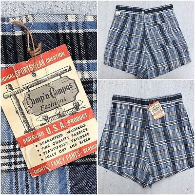VTG 50s 60s Shorts Blue Plaid Pin Up High Waist Back Metal Zip Pocket USA NOS 27