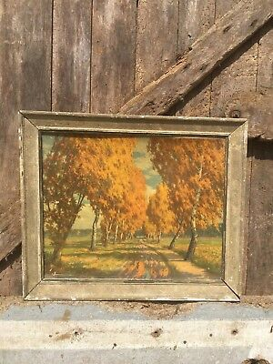 FRENCH Oil on Board. FRAMED. Tree Scene. Original
