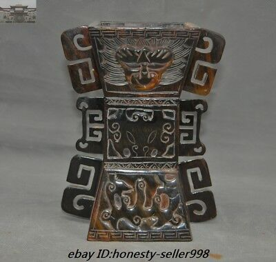 Chinese Old Ox horn Hand carved Dragon Beast pattern Statue Oxhorns Goblet Cup
