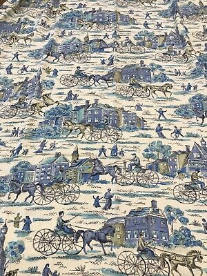 2.25 Yard Fabric 50s 60s Post Impressionist Cotton Prewashed Horse Buggy Vintage