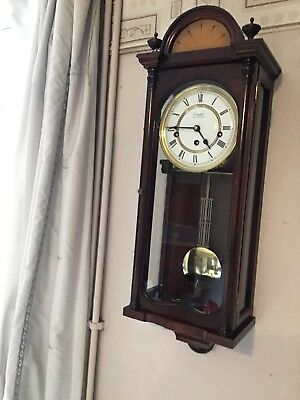 A Stunning Inlaid Westminster Chime Wall Clock By Comitti Of London