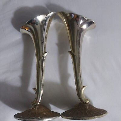Pair Vintage silver plate Bud Vase trumpet fluted patina 122918