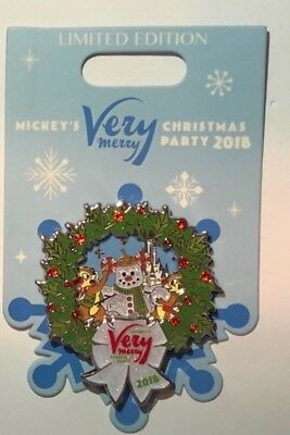 Disney 2018 Mickey Merry Christmas Party Chip & Dale Hinged Pin LE 5500 NEW