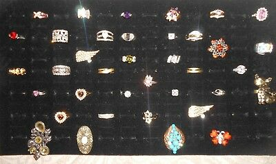 Wholesale LOT of 36 Quality Costume Jewelry Fashion Rings Gold Silver Tone Sz 7