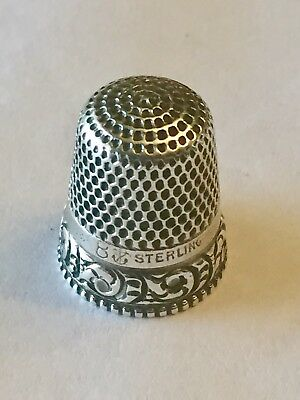 Anchor Mark Sterling Antique Fancy Thimble Stern Bros. Size 8